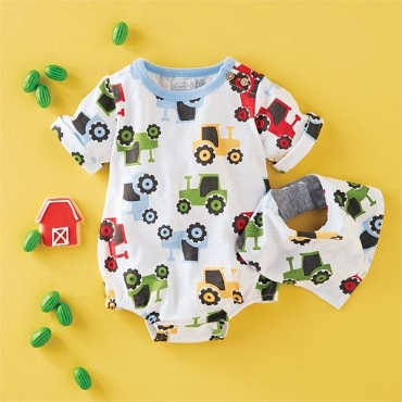 Tractor Bubble & Bib Set - 3 - 6 Month