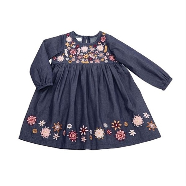 Chambray Embroidery Dress 9 - 12 Month