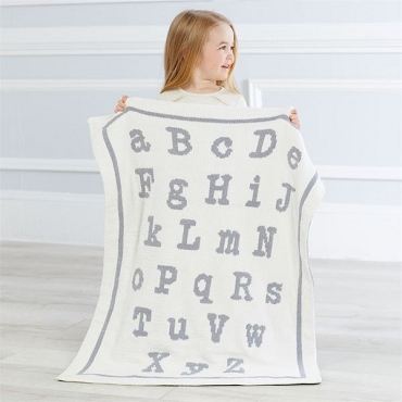 ABC Chenille Blanket Gray - White